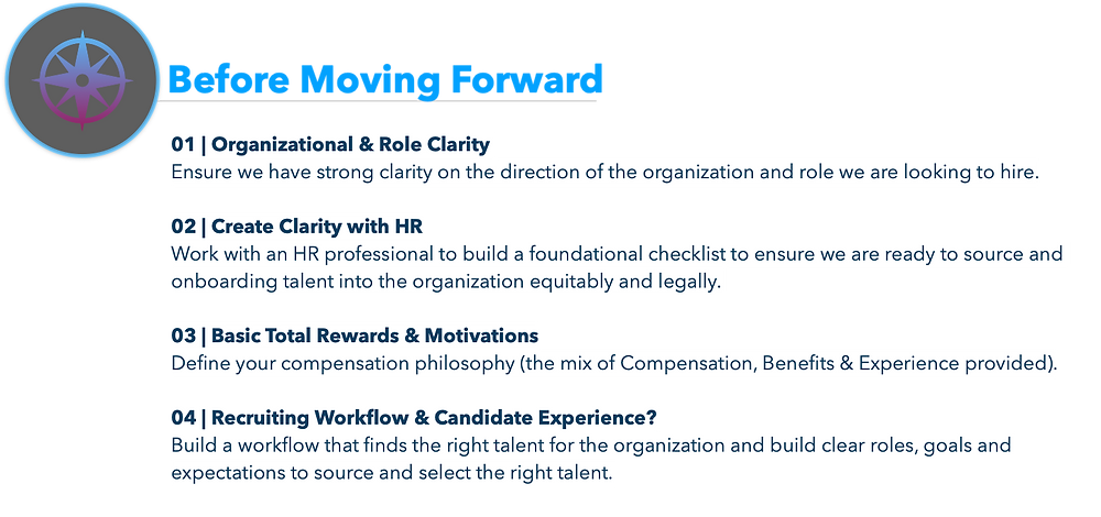 01 | Organizational & Role Clarity  Ensure we have strong clarity on the direction of the organization and role we are looking to hire.