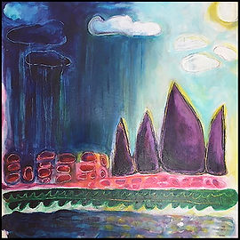 acrylic painting, acrylic, painting, painting on board, painting on clay board, rain, rainstorm, approaching storm, storm brewing, thunder, clouds, rain clouds, lightening, weather, extreme weather, expressive painting, colorful painting, blue, purple, yellow, pink, green, scratch board, scratch board painting, Expressionism, modern Expressionism, Michigan artist, primitive art, fine art, fine art collage, fran mason, fran mason illustration, fran mason art