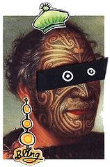 Maori, Maori chief, chief, Maori New Zealand, New Zealand, native New Zealander, native people of New Zealand, bling, gold, gold earring, beanie, beanie hat, cool, collage, paper collage, collage, collage illustration, art work, art pictures, abstract, collage art, green, orange, gold, black, yellow,Fran Mason, Fran Mason Illustration, Fran Mason art