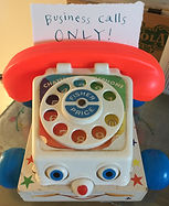 business calls only, no personal calls on business phone, landline, Fisher-Price phone #747, Fisher-Price phone #747 1961, phone, play phone, toy phone, Fisher-Price toy phone, vintage Fisher-Price, Fisher-Price play phone, Fran Mason, Fran Mason Illustration