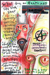 mixed media, collage, painting, drawing, acrylic painting, watercolor painting, drawing, painting, Michigan artist, primitive art, examined life, evil, abuse, emotional abuse, childhood abuse, bad dad, bully, fine art, fine art collage, fran mason, fran mason illustration