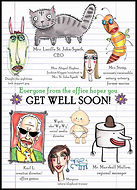 get well soon, get well soon card, get well card, get well soon greeting card, sickness card, feel better card, thinking of you card, watercolor, watercolor painting, ink drawing, art work, art pictures, abstract, collage, collage art, colorful, colorful collage, red, pink, orange, blue, turquoise, gray, lime green, Karl Lagerfeld, paper art, visual arts, artist, unique cards, handmade card, handmade greeting card, unique card, Fran Mason, Fran Mason Illustration. Fran mason art