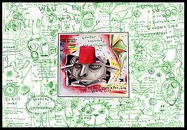 mixed media, collage, painting, drawing, acrylic painting, watercolor painting, drawing, painting, Michigan artist, primitive art, rain, weather, perception, happiness, evil, good, bad, good vs. evil. fine art, fine art collage, fran mason, fran mason illustration