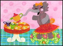 elephant, elephant tea party, tea party, tea party for girls, love, girl elephant, elephant with a teapot, elephant for children, collage, children's collage, elephant collage,  children's art, children's wall art, kids wall art, colorful, colorful collage, black pink, red, orange, blue, turquoise, green, yellow, pink, fran mason, fran mason illustration, fran mason art