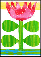 graphic tulip, flower, tulip, pink tulip, floral, floral card, collage, flower, flower collage, colorful, colorful collage, pink collage, pink, green yellow, blue, Scandinavian flower, mid century flower, modern flower, greeting card, flower greeting card, tulip greeting card, hand painted paper collage, collage illustration, art work, art pictures, abstract, collage, collage art, paper art, handmade greeting card, artist greeting cards, Fran Mason, Fran Mason illustration, fran mason art