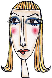 Francie, Francie head, Francie portrait, Francie doll, Francie Barbie doll, Barbie's cousin Francie, teen Francie, Barbie, Barbie doll, Francie thinks Ken is a doofus, illustration, watercolor painting, ink drawing, colorful drawing, pink, yellow, gold, red, blue, Fran Mason, Fran Mason Illustration