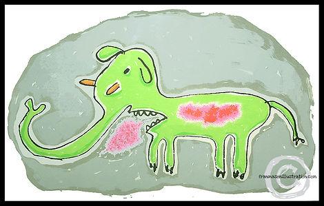 screen print, print, fine art print, elephant, elephant drawing, elephant print, elephant screen print, pachyderm, sickness, sick elephant, animal, animal print, green elephant, fine art, fran mason, fran mason illustration
