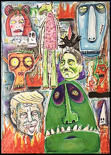 mixed media, collage, painting, drawing, acrylic painting, watercolor painting, drawing, painting, Michigan artist, primitive art, monsters, demons, Trump, Hitler, Nazi, Neo-Nazi, bully, bullies, narcissist, evil, wicked, amoral, dishonorable, unholy, vile, reviled, devil, malevolent, malicious, fine art, fine art collage, fran mason, fran mason illustration