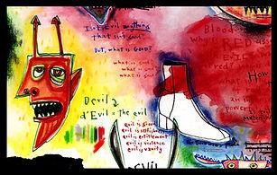 mixed media, collage, painting, drawing, acrylic painting, watercolor painting, drawing, painting, Michigan artist, primitive art, devil, Prada, Devil Wears Prada, evil, materialism, greed, fine art, fine art collage, fran mason, fran mason illustration