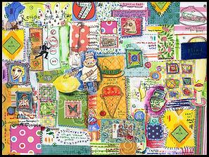 mixed media, collage, painting, drawing, acrylic painting, watercolor painting, drawing, painting, primitive art, quilt, crazy quilt, fine art quilt, fine art, fine art collage, fran mason, fran mason illustration