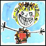 painting, drawing, watercolor painting, watercolor, drawing, painting, Michigan artist, primitive art, self-portrait, joy, joyful self-portrait, happy self-portrait, colorful self-portrait, joie de vivre, delighted, expressive, Expressionism, modern Expressionism, fine art, fine art collage, fran mason, fran mason illustration