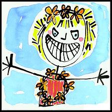painting, painting on paper, watercolor painting on paper, drawing, watercolor painting, watercolor, drawing, painting, colorful, colorful painting, self-portrait, colorful self-portrait, blue, yellow, orange, pink, red, Michigan artist, primitive, primitive art, primitive painting, joy, joyful self-portrait, happy self-portrait, joie de vivre, delighted, expressive, Expressionism, modern Expressionism, fine art, fine art collage, fran mason, fran mason illustration, fran mason art