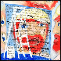 acrylic painting, acrylic, painting, abstract, abstract painting, painting on board, the painter, painting on Masonite, painter, the painter, portrait of a painter, portrait, portrait of a house painter, house painter, eavesdropping, spying, surveillance, highly sensitive, expressive painting, Expressionism, modern Expressionism, primitive, primitive art, Michigan artist, colorful, colorful painting, red, blue, black, ladder, fine art, fine art collage, fran mason, fran mason illustration, fran mason art
