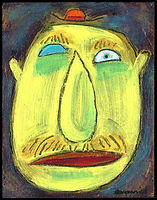 acrylic painting, acrylic, abstract, abstract painting, painting, painting on board, painting on Masonite, blue eyed man, man, portrait, portrait of a man, man portrait, blue eyed man, sad man, blue eyes, male, man painting, depression, isolation, loneliness, expressive painting, primitive, primitive painting, black, red, blue, yellow, Expressionism, modern Expressionism, Michigan artist, primitive art, fine art, fine art painting, fran mason, fran mason illustration, fran mason art