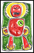 Watercolor, watercolor painting, watercolor on paper, watercolor pencil, abstract, abstract painting, painting, painting on paper, bully, bully in the family, monster, demon, anger, temper, hair trigger temper, rage, out of control, violence, abuse, childhood abuse, madness, furious, highly sensitive, highly sensitive child, colorful, colorful painting, red, green, pink, blue, expressive painting, Expressionism, modern Expressionism, Michigan artist, primitive, primitive artist, primitive art, fine art, fine art collage, fran mason, fran mason illustration, fran mason art
