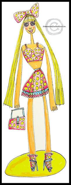 screen print, print, fine art print, Barbie, Barbie print, pretty Barbie, Barbie doll, Barbie doll print, Barbie screen print, Barbie for girls, Barbie decor, feminism, women as objects, colorful art, colorful screen print, colorful print, fine art, fran mason, fran mason illustration, Fran Mason art