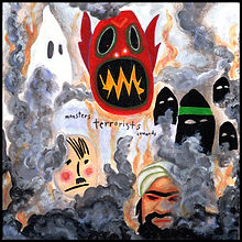 Monsters-Teracrylic painting, acrylic, abstract, abstract painting, painting, painting on board, painting on Masonite, monsters terrorists, cowards, cowards, terrorists, monster, demon, devil, Nazi, Nazis, neo Nazi, hate groups, hate crime, terrorists, 9/11, suicide bombers, KKK, white supremacists, smoke, fire, carnage, colorful, colorful painting, red, black, gray, green, orange, Expressionism, modern Expressionism, primitive, primitive art, Michigan artist, primitive artist, fine art, fine art collage, fran mason, fran mason illustration, fran mason art