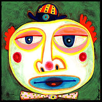 acrylic painting, acrylic, abstract, abstract painting, painting, painting on board, painting on Masonite, clown, another sad clown, sad clown, portrait, clown portrait, clown painting, circus portrait, circus, clown costume, sad, circus clown, colorful, colorful painting, red, blue, yellow, pink, green, orange, expressive painting, Expressionism, modern Expressionism, Michigan artist, primitive art, fine art, fine art painting, fran mason, fran mason illustration, fran mason art