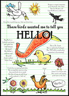 greeting card, hello greeting card, hi, thinking of you greeting card, bird card, bird watchers, red bird, chick, chicken, hummingbird, seagull, blackbird, Baltimore oriole, turkey, bird greeting card, watercolor greeting card, pen and ink drawing, pen and ink greeting card, watercolor, watercolor painting, collage greeting card, art work, art pictures, abstract, collage, collage art, paper art, handmade greeting card, original art greeting cards, Fran Mason, Fran Mason Illustration, fran mason art, Dr. Janet Iwasa Janet Iwasa, PhD, Dr. Janet Iwasa, Dr. Janet, molecular animation