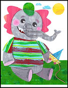 elephant, elephant boy, elephant boy with sailboat, elephant wall art, elephant illustration, elephant picture, elephant collage, cute elephant, elephant collage, collage, handmade wall art, original wall art, quirky wall art, children's art, collage paper collage, children's wall art, kids wall art, colorful, colorful collage, green, red, gray, pink, blue yellow, Fran Mason, Fran Mason Illustration, fran mason art