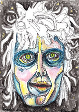 painting, painting on paper, watercolor painting on paper, drawing, ink drawing, watercolor painting, watercolor, watercolor and ink painting, colorful, colorful painting, black, blue, green, yellow, pink, self-portrait, colorful self-portrait, zombie self-portrait, zombie, zombie apocalypse, blue, yellow, orange, pink, red, Michigan artist, primitive, primitive art, primitive painting, joy, Expressionism, modern Expressionism, fine art, fine art collage, fran mason, fran mason illustration, fran mason art