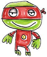 ninja, lil' ninja, martial arts, young mutant ninja turtle, hero, watercolor, watercolors, watercolor painting, watercolor illustration, ninja illustration, kids illustration, children's illustration, red, green, black, yellow, Fran Mason, Fran Mason Illustration