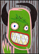 acrylic painting, acrylic, painting, painting on board, painting on canvas board, monster, inner demons, mask, public mask, monster mask, analysis, self-analysis, examined life, highly sensitive, expressive painting, Expressionism, modern Expressionism, Michigan artist, primitive art, fine art, fine art collage, fran mason, fran mason illustration