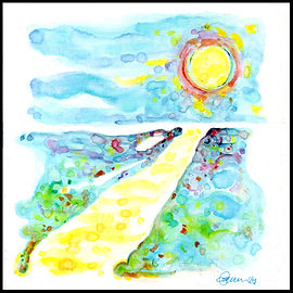 painting, drawing, watercolor painting, watercolor on masonite, watercolor painting on board, Michigan artist, primitive art, primitive painting, colorful painting, blue, yellow, red, pink, green, purple, water, seascape, journey, enlightenment, spirituality, birth, abstract art, abstract painting, abstract landscape, landscape, colorful, colorful landscape, fine art, fine art, fran mason, fran mason illustration, fran mason art