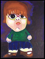 acrylic painting, acrylic, abstract, abstract painting, painting, painting on board, painting on canvas board, child, child dwarf, young dwarf, dwarf, little person, young, expressive painting, colorful, colorful painting, purple, green brown pink, big eyes, Expressionism, modern Expressionism, Michigan artist, primitive, primitive art, primitive artist, fine art, ran mason, fran mason illustration, fran mason art
