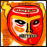 acrylic painting, acrylic, painting, painting on board, painting on Masonite, monster, demon, inner demons, mask, monster mask, analysis, self-analysis, examined life, highly sensitive, expressive painting, Expressionism, modern Expressionism, Michigan artist, primitive art, fine art, fine art collage, fran mason, fran mason illustration