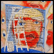 acrylic painting, acrylic, painting, painting on board, painting on Masonite, painter, the painter, portrait, portrait of a house painter, eavesdropping, spying, surveillance, highly sensitive, expressive painting, Expressionism, modern Expressionism, Michigan artist, primitive art, fine art, fine art collage, fran mason, fran mason illustration