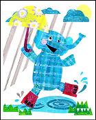 elefun, elephant, elephant fun, blue elephant, blue plaid elephant, elephant  in the rain, elephant for children, collage, children's collage, paper collage, children's art, children's wall art, kids wall art, elephant collage, blue collage, colorful collage, colorful, black, blue, turquoise, green, yellow, red, pink, elephant collage, fran mason, fran mason illustration, fran mason art