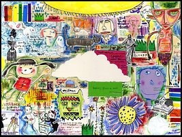 mixed media, collage, painting, drawing, acrylic painting, watercolor painting, drawing, painting, Michigan artist, primitive art, what is reality, happiness, contentment, perception, violence, religion, God, faith, fine art, fine art collage, fran mason, fran mason illustration