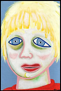 acrylic painting, acrylic, painting, painting on board, painting on Masonite, portrait, portrait of a child, fearful child, middle child, sad child, childhood abuse, depression, sensitivity, highly sensitive, highly sensitive child, expressive painting, Expressionism, modern Expressionism, Michigan artist, primitive art, fine art, fine art collage, fran mason, fran mason illustration