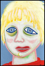 acrylic painting, acrylic, abstract, abstract painting, painting, painting on board, painting on Masonite, portrait, child, portrait of a painting of a child, fearful child, middle child, sad child, scared, scared child, lost child, girl, childhood abuse, depression, sensitivity, highly sensitive, highly sensitive child, expressive painting, Expressionism, modern Expressionism, primitive painting, primitive art, colorful painting, red, blue, yellow, green, pink, red sweater, Michigan artist, , fine art, fran mason, fran mason illustration, fran mason art, fran mason art