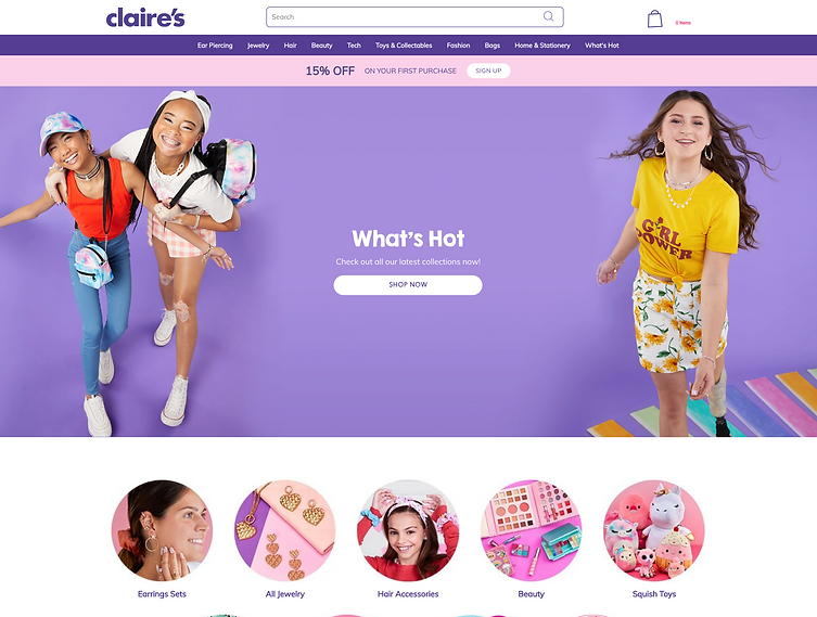 Claires Home page