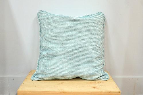 Coussin texturé turquoise/blanc