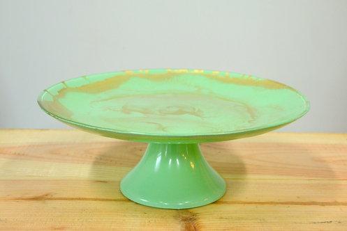 Assiette à gâteau sur pied - Vert/or