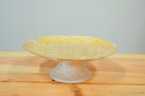 Assiette à gâteau sur pied - Blanc/or