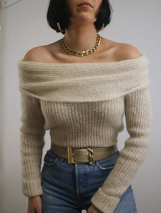 Vintage Ivory Mohair Cold Shoulder Sweater