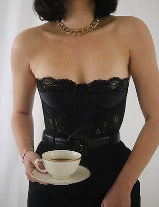 Vintage 1980's Victoria's Secret Noir Lace Bustier