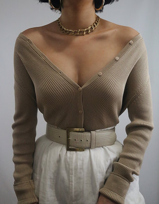 Vintage Latte Silk Cardigan