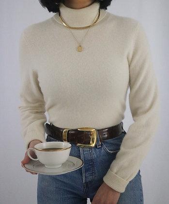 Vintage Ivory Cashmere Turtleneck Sweater