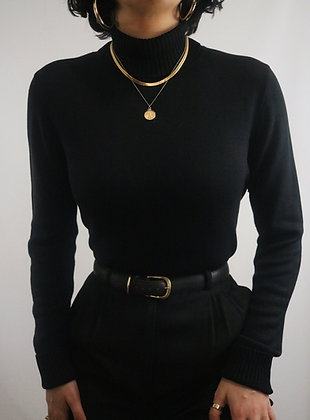 Vintage Noir Silk Turtleneck