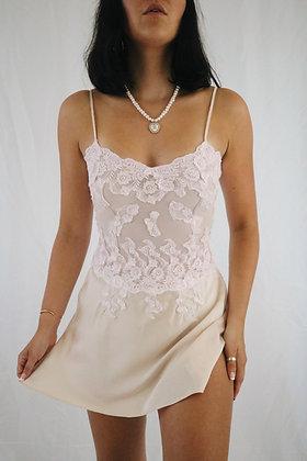 Vintage Blush Lace + Honey Silk Slip Dress (XS)