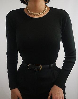 Vintage Noir Silk Crew Neck Sweater