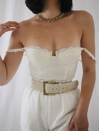 Victoria's Secret Ivory Satin Bustier - 34B