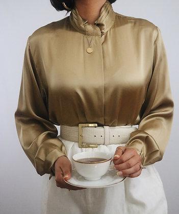 Vintage Golden Silk Blouse