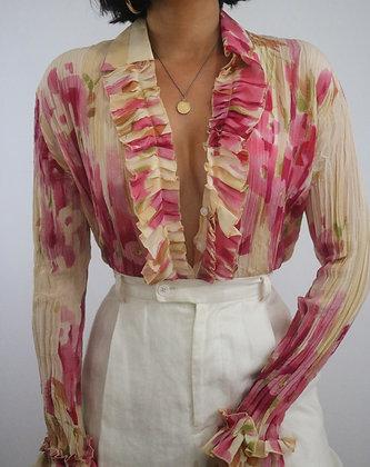 Vintage Watercolor Floral Silk Blouse