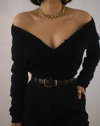 Vintage Noir Leather Belt + Gold Buckle
